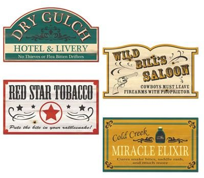 Western Old Style Signs Cutouts