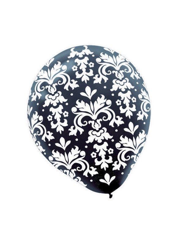 """Brocade Black 12""""/30cm Latex Balloons 6pc"