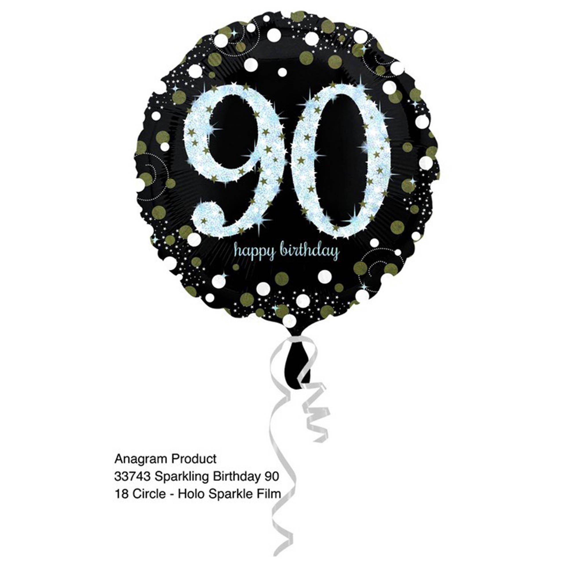 45cm Standard Holographic Sparkling Birthday 90 S55