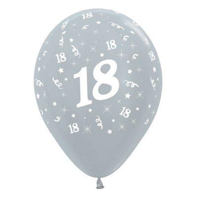 Sempertex 30cm Age 18 Satin Pearl Silver Latex Balloons, 6PK