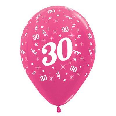 Sempertex 30cm Age 30 Metallic Fuchsia Latex Balloons, 25PK