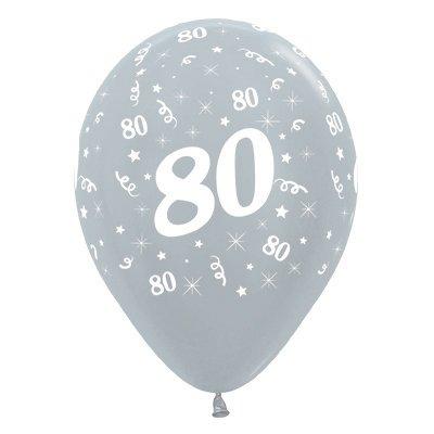 Sempertex 30cm Age 80 Satin Pearl Silver Latex Balloons, 6PK