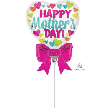 Mini Shape Happy Mothers Day Heart with Bow A30