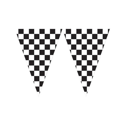 Racing Pennant Banner Black & White Checkered 50cm x 6m