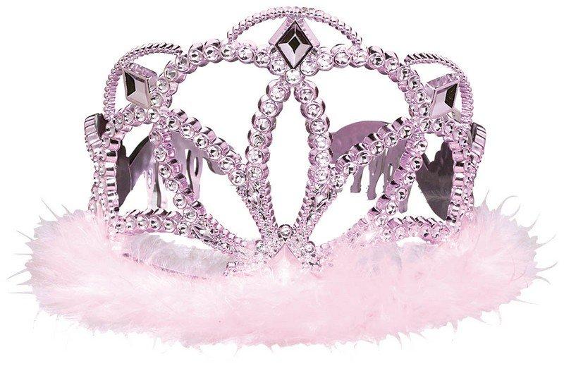 Iridescent Tiara w/Marabou-Pink