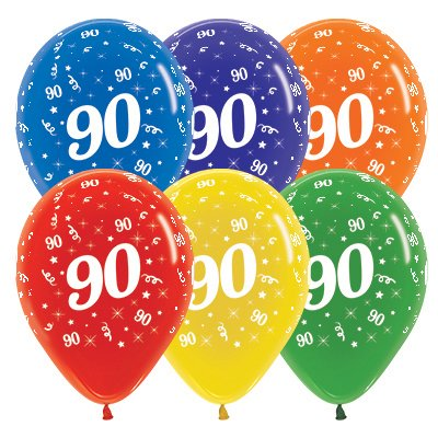 Sempertex 30cm Age 90 Crystal Assorted Latex Balloons, 25PK