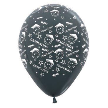 Sempertex 30cm Graduation Smiley Faces Metallic Graphite Latex Balloons, 6PK