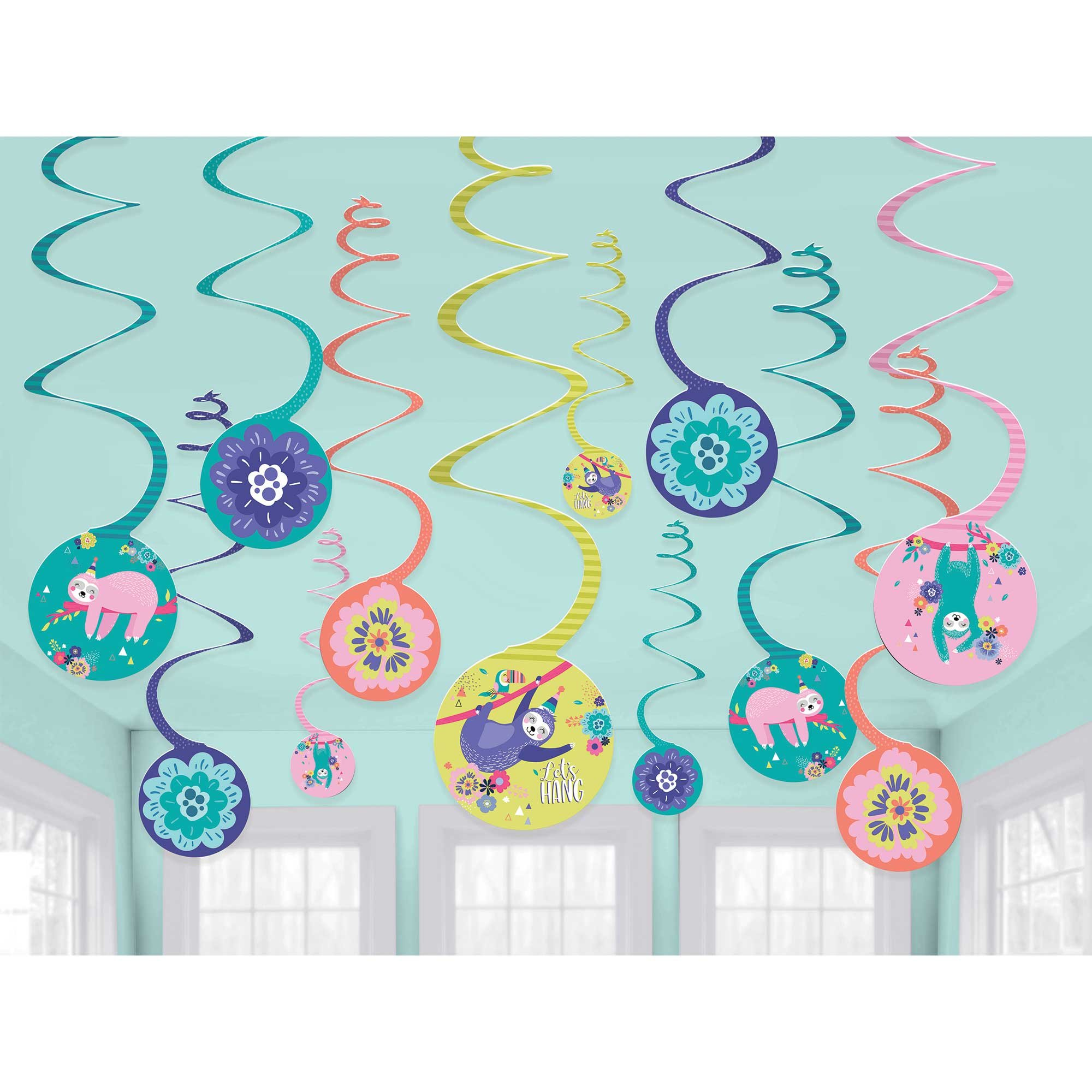 Sloth Spiral Hanging Swirl Decorations Value Pack
