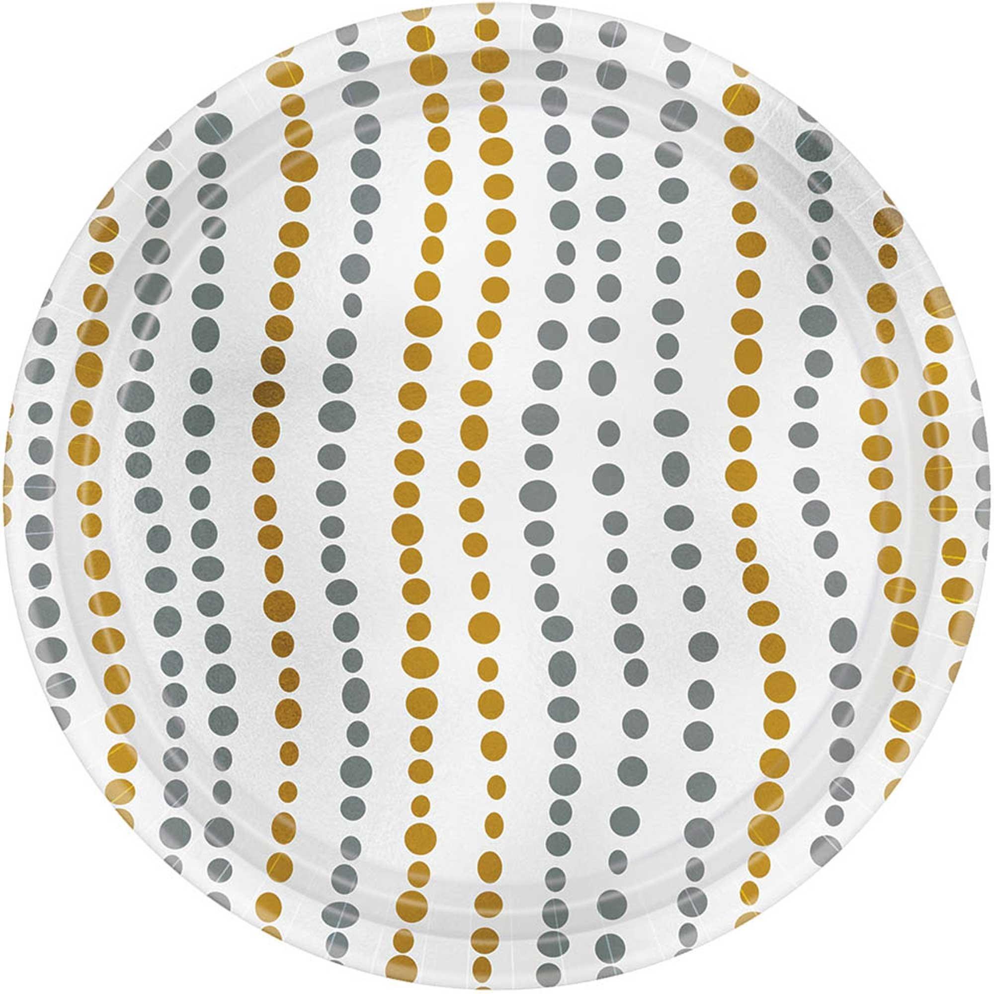 Modern Dot 17cm Paper & Metallic Gold & Silver Round Plates