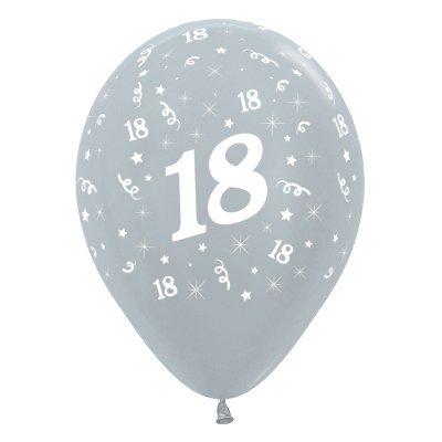 Sempertex 30cm Age 18 Satin Pearl Silver Latex Balloons, 25PK
