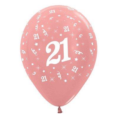 Sempertex 30cm Age 21 Metallic Rose Gold Latex Balloons, 25PK