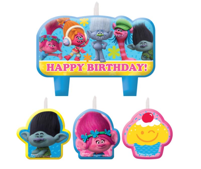 Trolls Happy Birthday Mini Moulded Candle Set : Balloon ...
