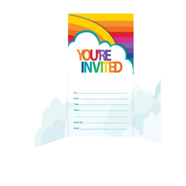 Rainbow Invitations You're Invited Gatefold 11cm x 11cm