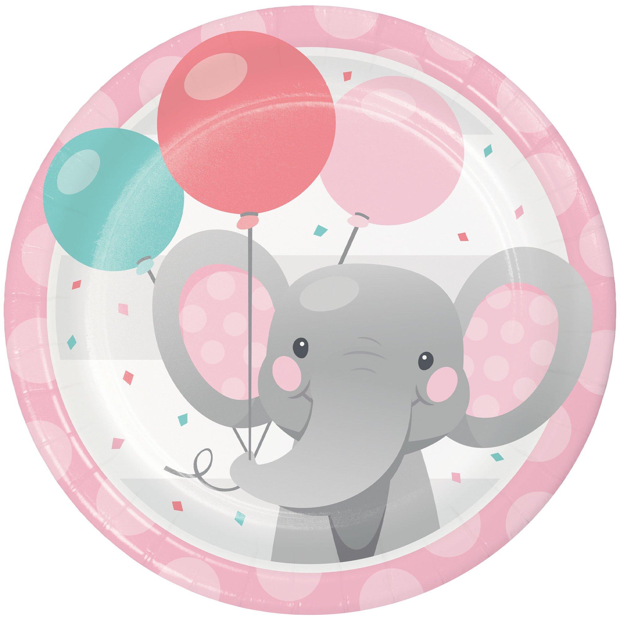 Enchanting Elephant Girl Lunch Plates Paper 18cm