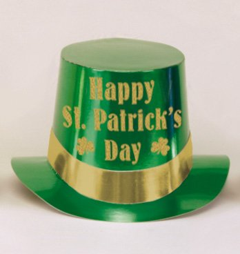 Green Foil Top Hat Happy St Patrick's Day