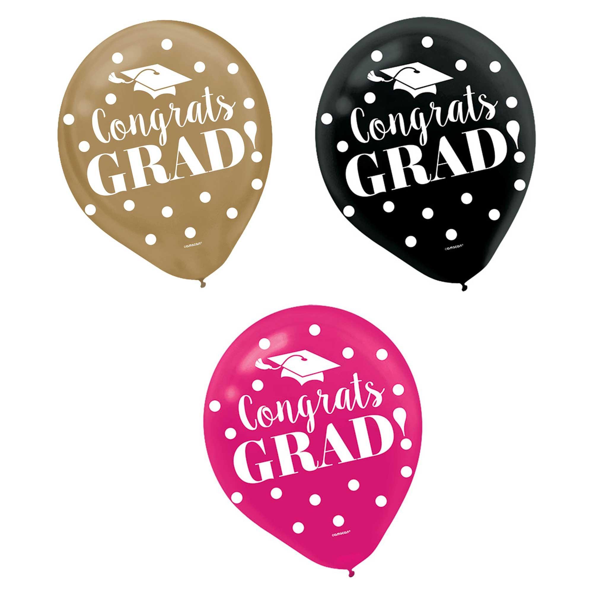 """Congrats Grad Confetti 12"""" / 30cm Latex Balloons Assorted Colours"