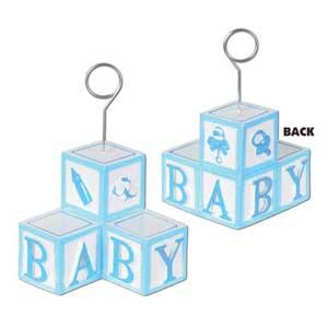 Photo Holder Balloon Weight Baby Blocks Blue