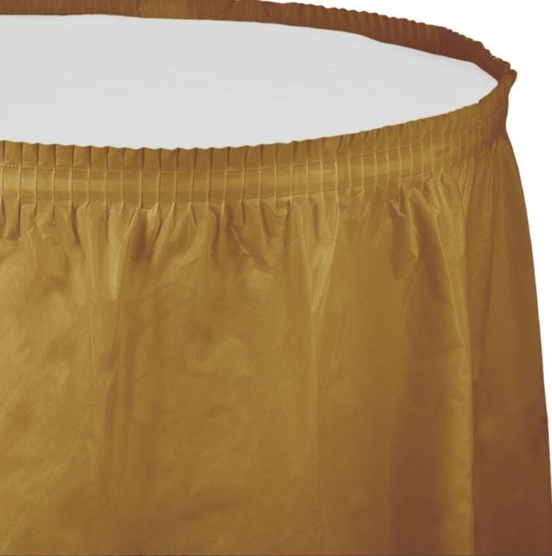 Glittering Gold Table Skirt Plastic 74cm x 4.26m