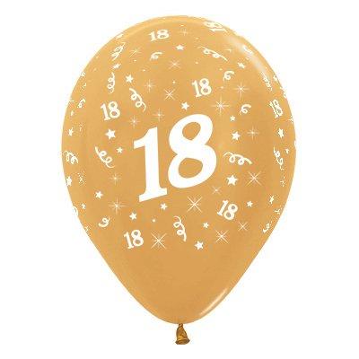 Sempertex 30cm Age 18 Metallic Gold Latex Balloons, 25PK