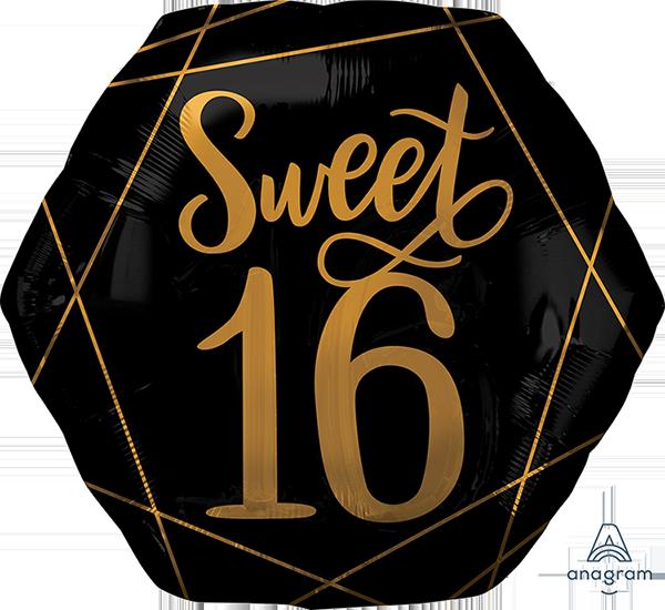 SuperShape XL Elegant Sweet Sixteen Black & Gold P30