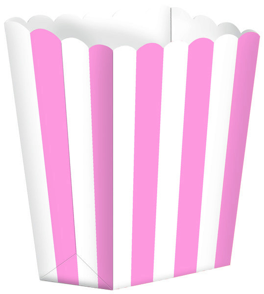 Popcorn Favor Boxes Small Stripe New Pink