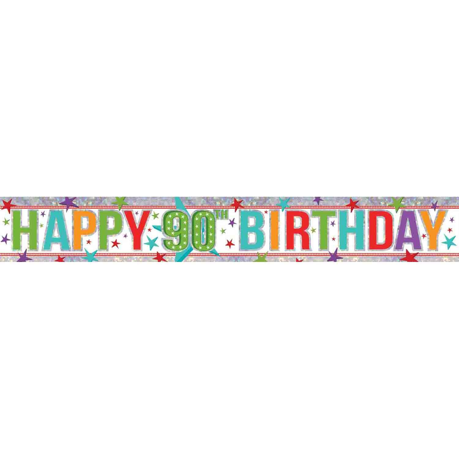 Banner Holographic Happy Birthday 90th Multi-Coloured