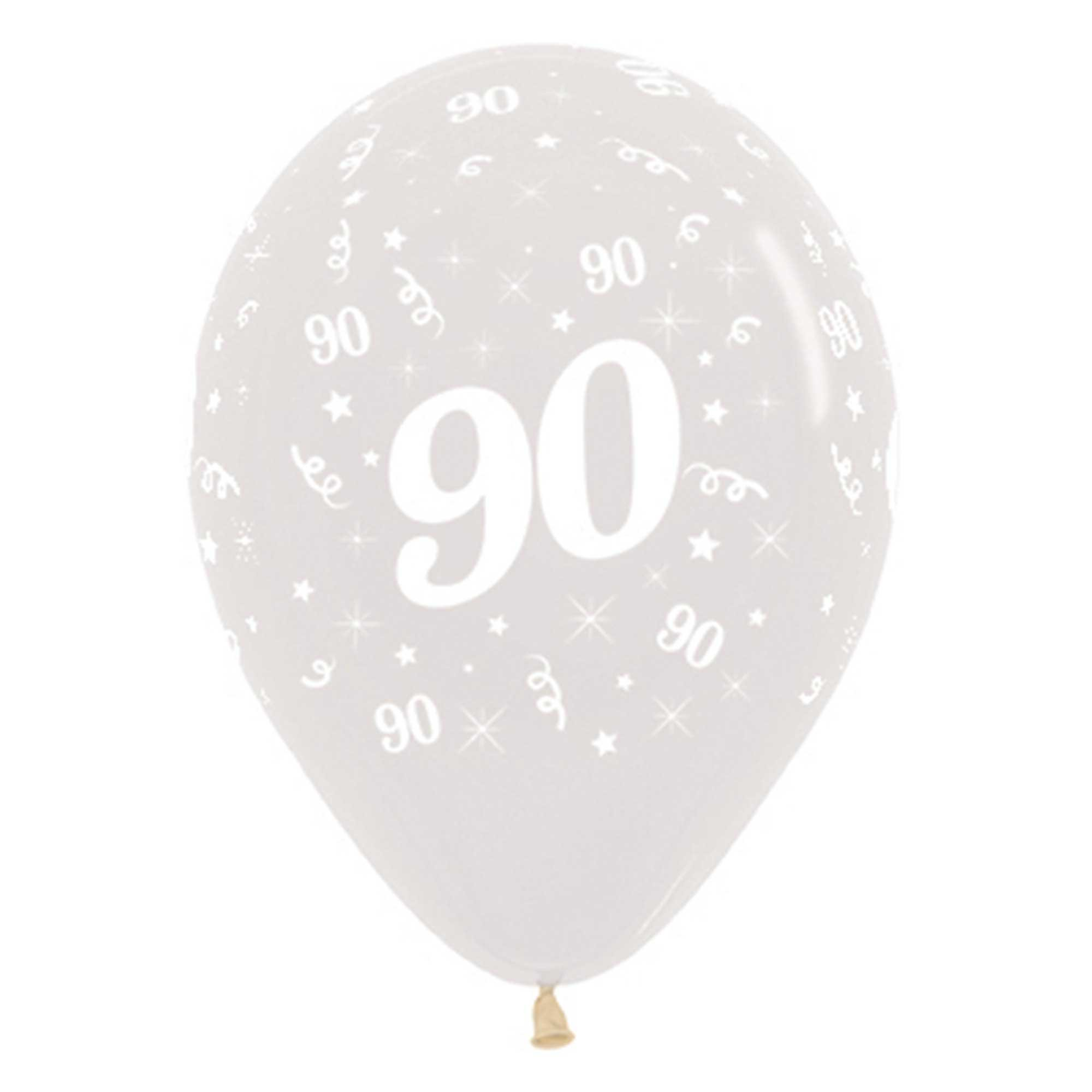 Sempertex 30cm Age 90 Crystal Clear Latex Balloons, 25PK