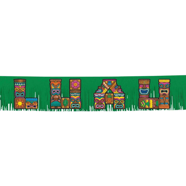 Summer Luau Tiki Letters Fringed Glittered Paper Banner