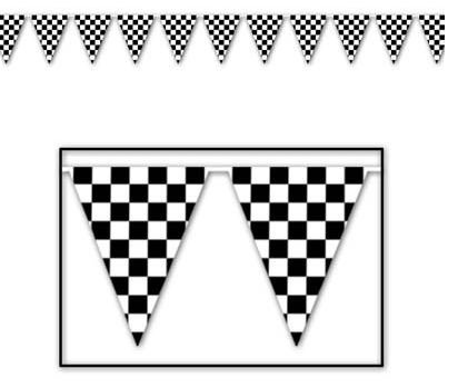 Pennant Flag Banner Giant Black & White Checkered