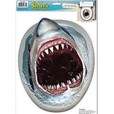 Shark in the Toilet Topper Peel & Place Cling