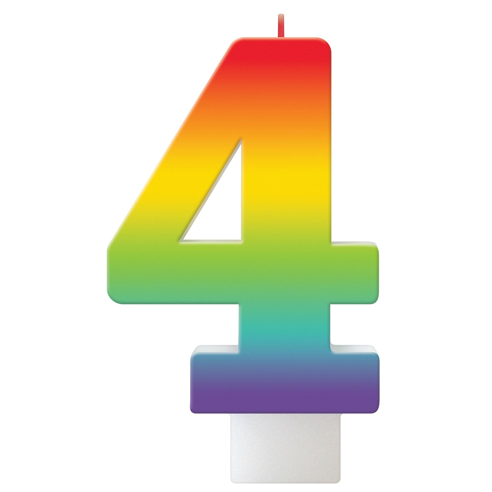Birthday Celebration Rainbow Candle Number #4