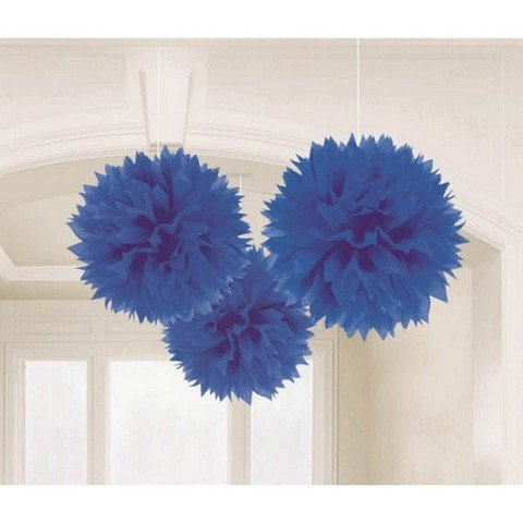 Fluffy Tissue Decorations - Royal Blue