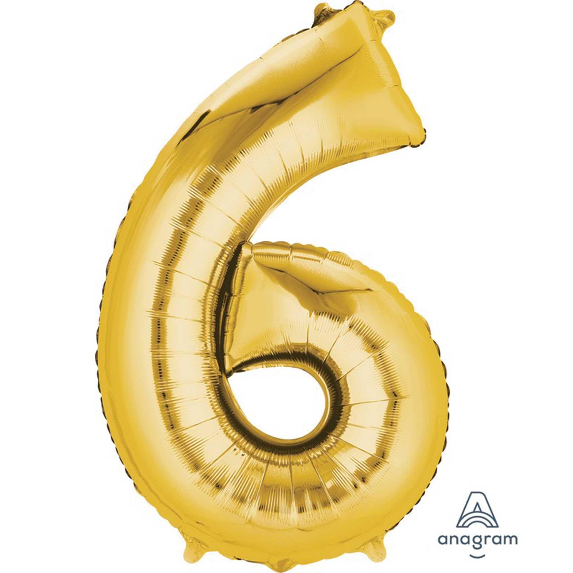 SuperShape Gold Numeral 6.  86cm L34