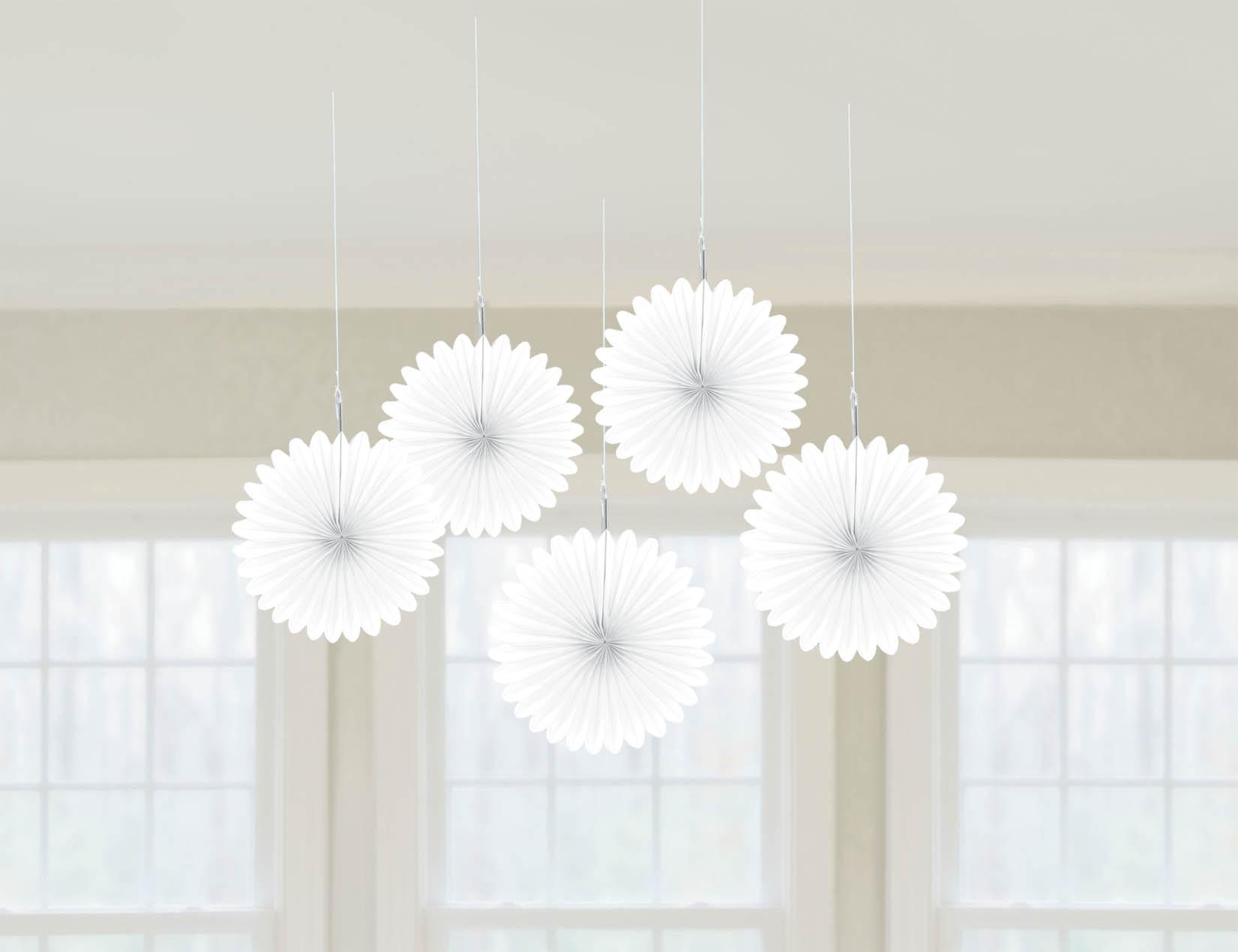 Mini Fan Decorations - Frosty White