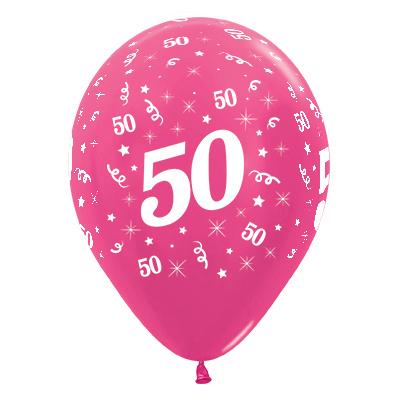 Sempertex 30cm Age 50 Metallic Fuchsia Latex Balloons, 25PK