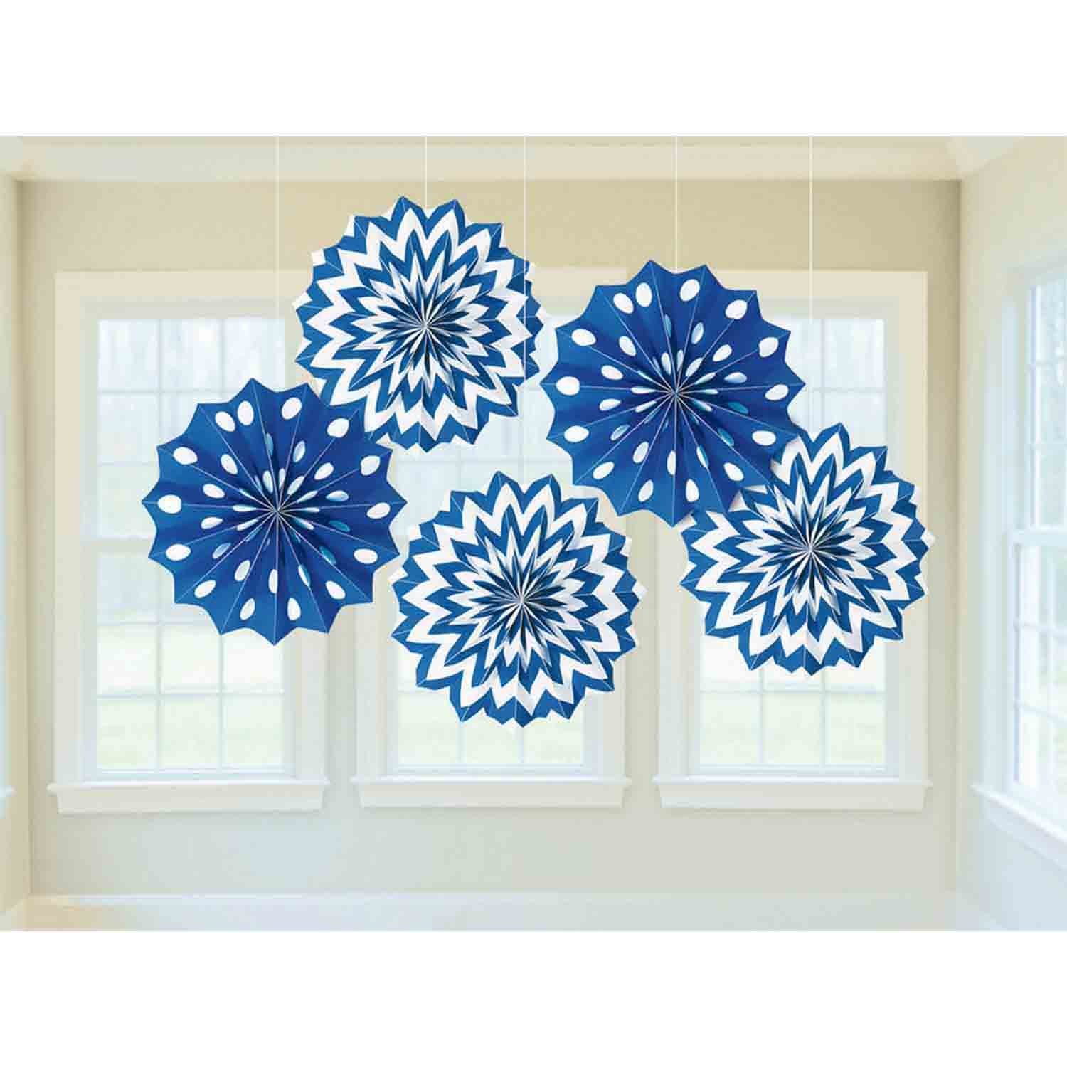 Fan Decorations Printed Paper  Bright Royal Blue