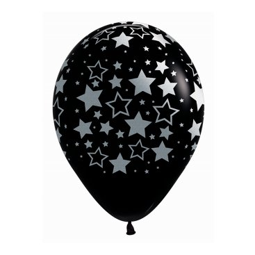 Sempertex 30cm METALink Bold Stars Fashion Black 25PK