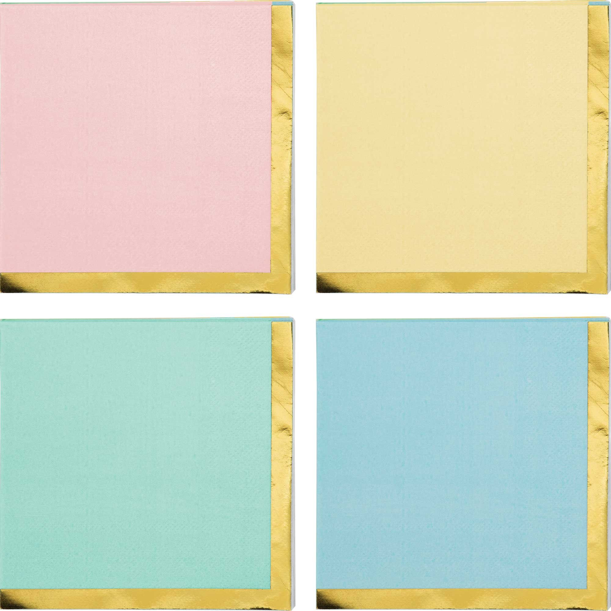 Pastel Celebrations Beverage Napkins Scalloped & Gold Foil