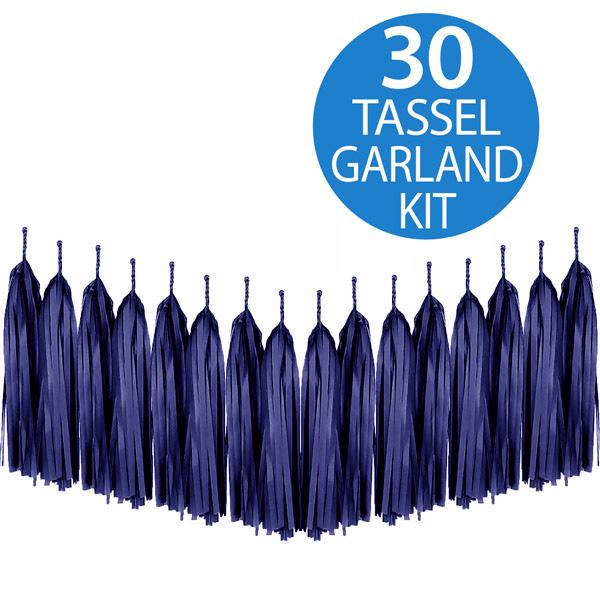 Tassel Garland Tissue Paper Dark Navy Blue