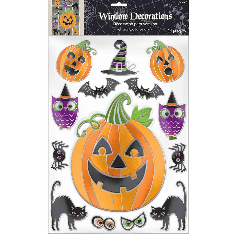 Halloween Window Assorted Decorations Embossed Foil