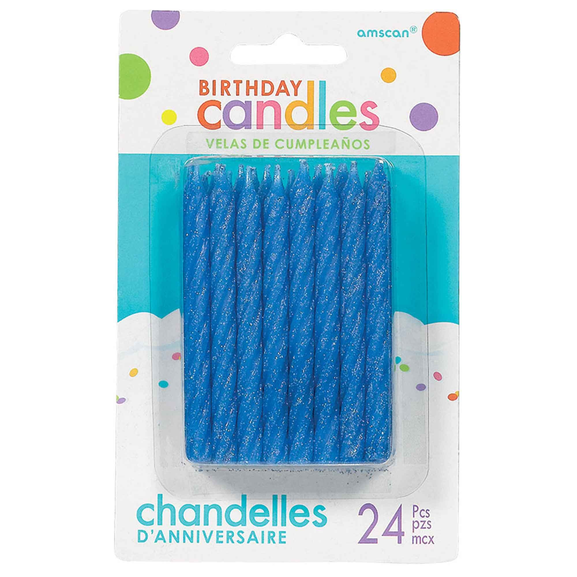 Birthday Candles Large Spiral Glitter - Blue