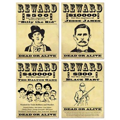 Western Wanted Reward Signs Cutouts