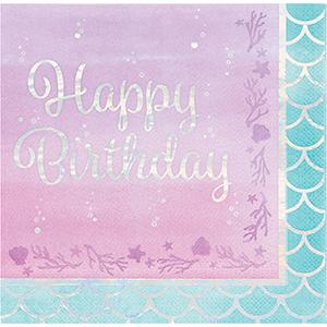 Mermaid Shine Iridescent Lunch Napkins Happy Birthday