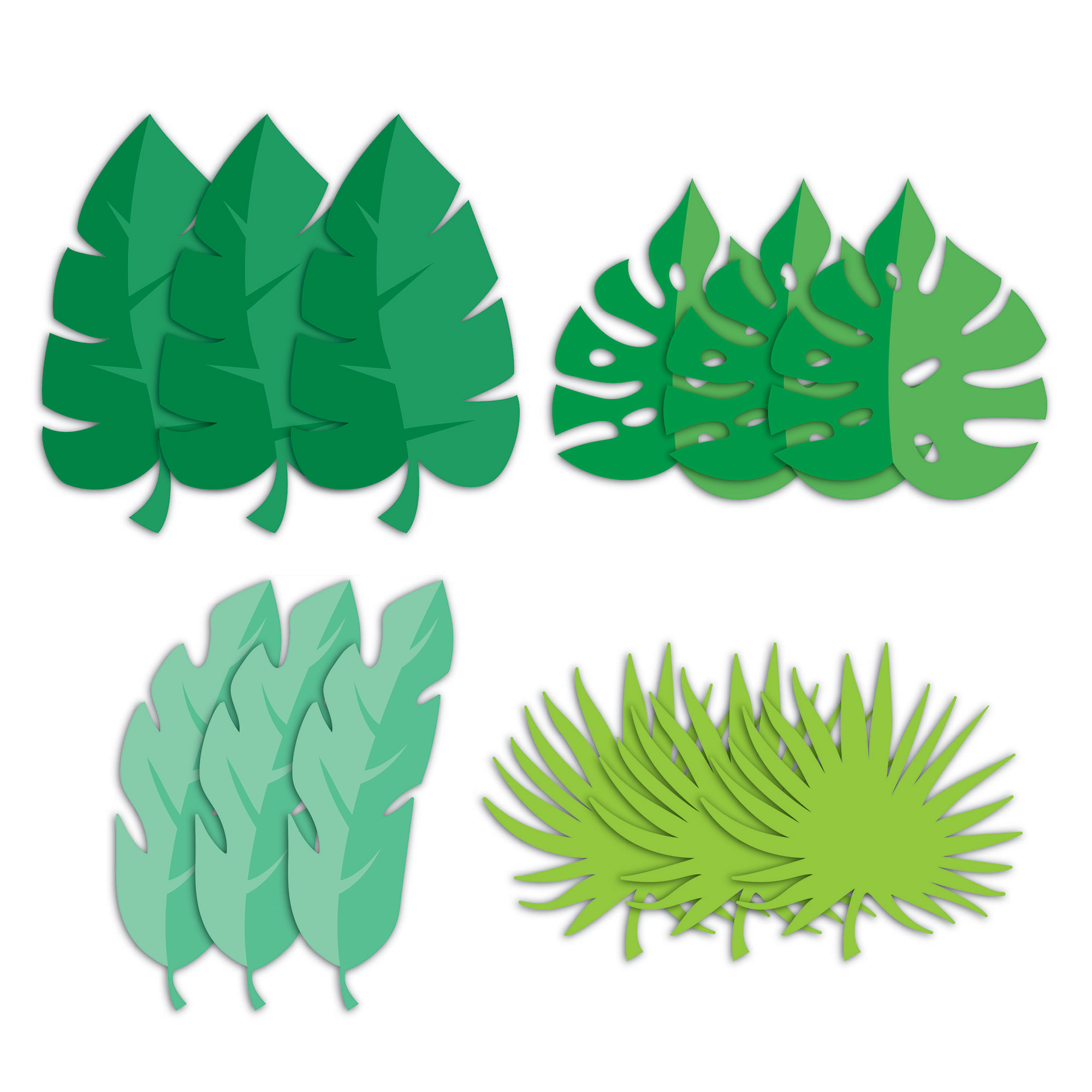 Girl Dino Party Decor Leaf Cutouts 18cm