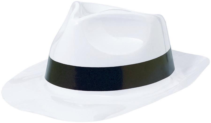 Classic 50s Fedora Hat White Black w/Band