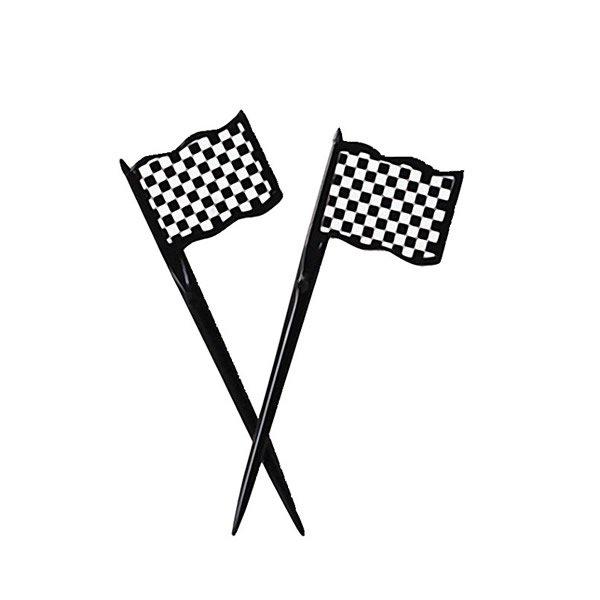 Black & White Check Racing Flags Picks Plastic 9cm x 3cm