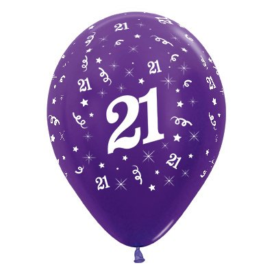 Sempertex 30cm Age 21 Metallic Purple Violet Latex Balloons, 25PK