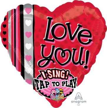 Sing-A-Tune XL Love You Dots & Stripes Heart P60