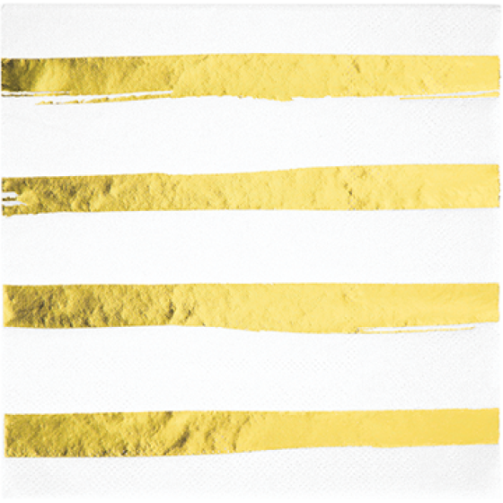 Touch of Colour White & Gold Foil Striped Lunch Napkins