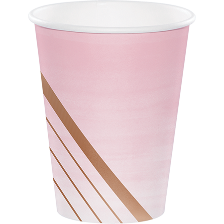 Rose All Day Cups Paper Stripes Rose Gold Foil 266ml